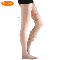 Cofoe 1 Pair Skin Color Medical Compression Stockings Varicose Veins Leval 1 High Above The Knee