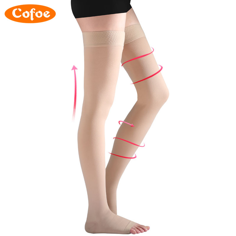 Cofoe 1 Pair Medical Compression Stockings Varicose Veins Socks Level 2 Pressure 23-32mmHg Above The Knee Skin Color For Women mcdavid 6300 dual compression knee sleeve
