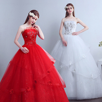 2017 new stock plus size women pregnant bridal gown wedding dress white red ball gown strapless bling flowers beaded lace 22