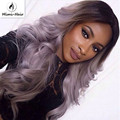 Sexy Black T Grey Hand Tied Synthetic Lace Front Wig Glueless high density Heat Resistant fiber perruque front lace party wig
