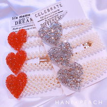 Candygirl Red Heart Full Pearls Hair Clips for Women Hairpins Alloy Barrettes BB Hairgrip Girls Accessories Headwear