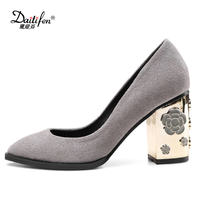 Daitifen Square Heel Pumps Kid Suede Shoes For Women Thick High Heels Round Toe Female Shoes Slip On Spring Autumn Footwear 2017 shoes women med heels tassel slip on women pumps solid round toe high quality loafers preppy style lady casual shoes 17