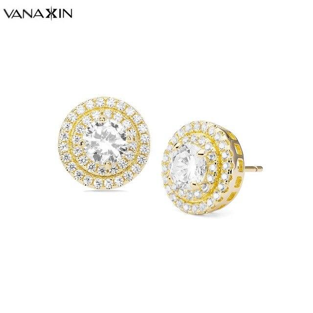 VANAXIN Bling Bling Stud Earrings Women Girl Statement Jewellery Hip Hop CZ  Brincos Earrings Fashion Jewelry High Quality Box 8a26ed57332d