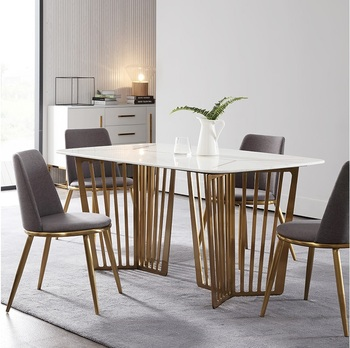 Mesa de comedor de mármol larga de 160 cm + 6 sillas/Marco de acero  dorado/tamaño personalizado disponible