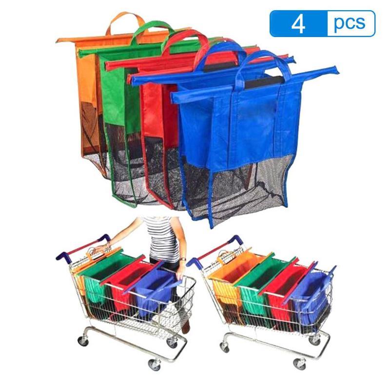 4pcs/Set Thicken Cart Trolley Supermarket Shopping Grocery Grab Storage Bags Foldable Reusable Eco-Friendly Shop Handbag Totes