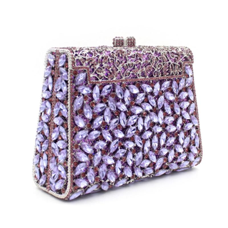 Evening Clutch Bags Purple Crystal Women Clutches Luxury Rhinestones Ladies  Party Purse Fashion Women's Dinner Banquet Handbags Top-Handle Bags  -  AliExpress