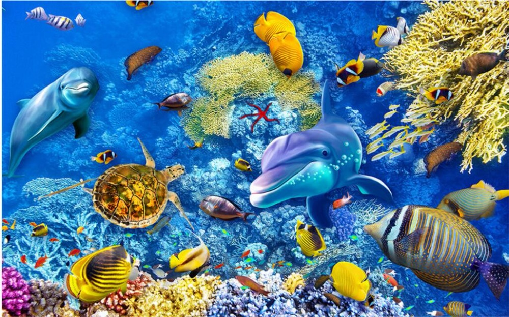 Custom Mural Photo 3d Wallpaper Coral Sea World Fish Home Decoration Painting Picture Wall Murals For 3 D In Wallpapers From