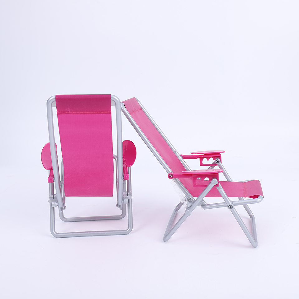 Plastic Beach Deck Chair Model for1:6 Doll Garden Patio Beach Furniture Rosy