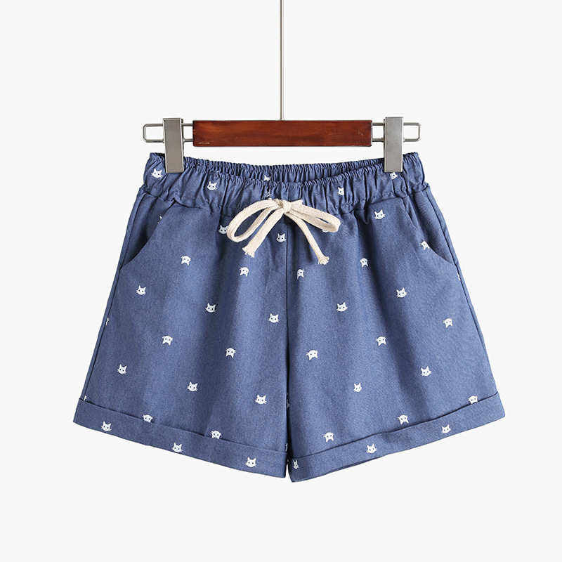 Danjeaner Short Feminino Women Mid Waist Printed Drawstring Cotton Casual Shorts Preppy Style Elastic Waist Hot Shorts Mujer