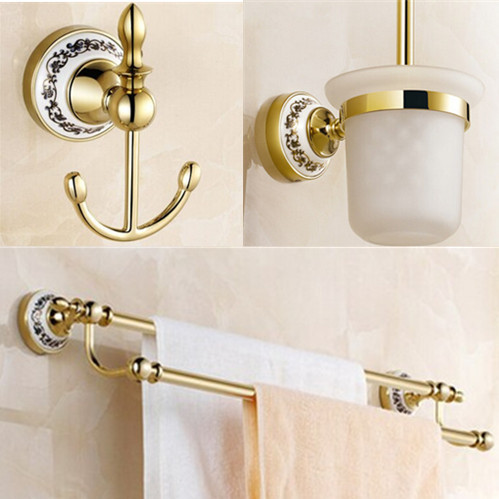 Luxury bath accessory set 3 pecs Golden Bathroom accessories cloth+toilet brush holder+double Towel Bar simple cat print and canvas design satchel for women