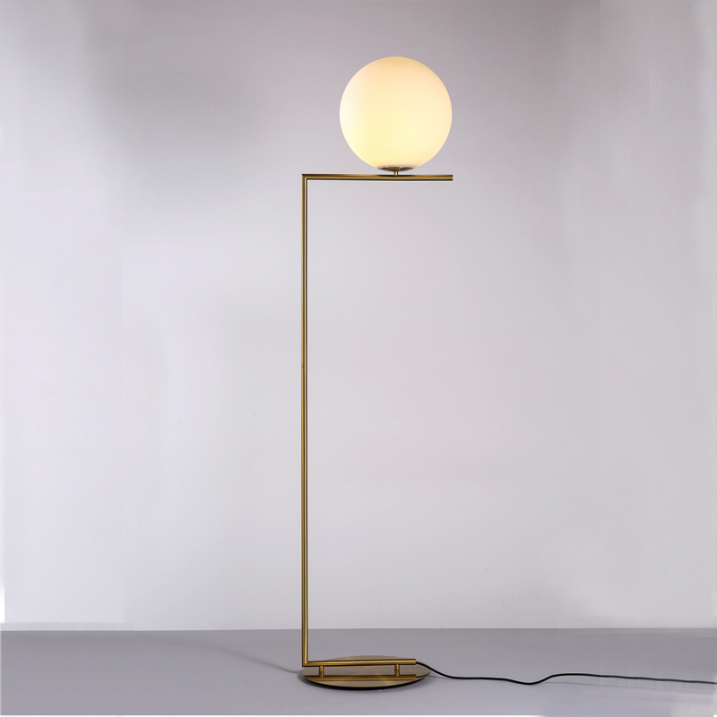Glass ball floor light lamp modern floor lamps metal for Modern floor lamps living room