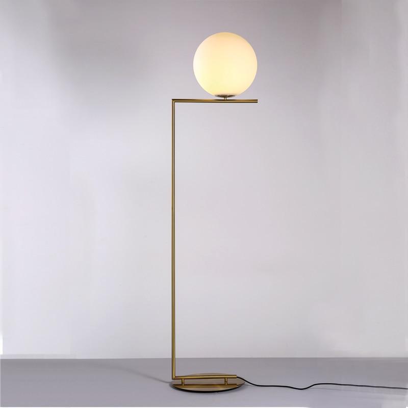 Glass Ball Floor Light Lamp Modern Floor Lamps Metal Tripod Floor Zoom For  Living Room Bedroom