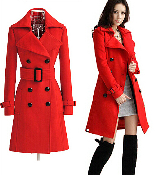 2015 new arrive winter red color luxury big coat women red double ...