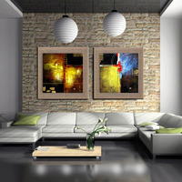 City Downtown New York Urban Street HomeModern Picture Hand Painted Abstract Linen Oil Painting Handmade Wall