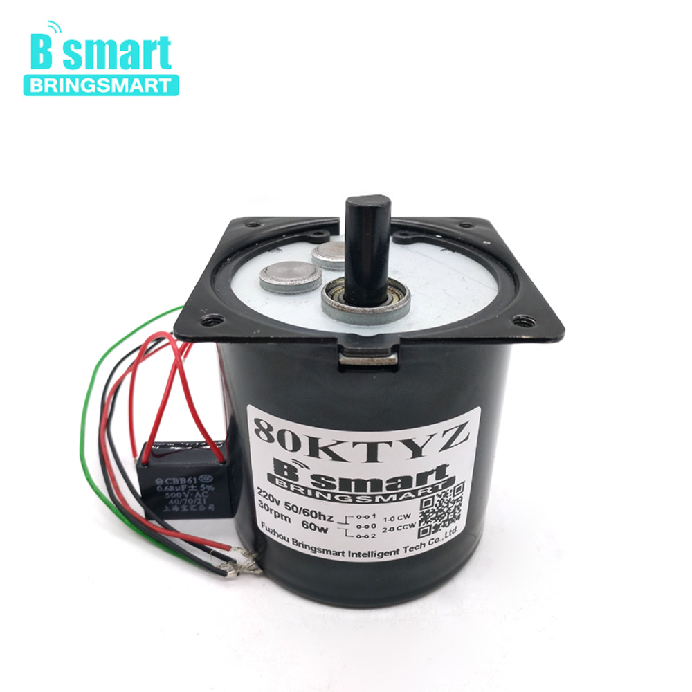Bringsmart 80KTYZ AC Motor 220V 60kg.cm High Torque 8 - 30rpm Speed Low Noise 60W Synchronous Reduction AC Gear Elettrico Moter Bringsmart 80KTYZ AC Motor 220V 60kg.cm High Torque 8 - 30rpm Speed Low Noise 60W Synchronous Reduction AC Gear Elettrico Moter