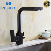 PHLIER Black Square Kitchen Faucet For Kitchen Brass 360 Degree Rotation Faucets Filter Water Mixer Tap