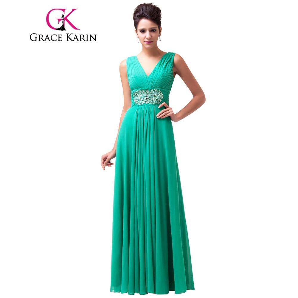 Grace karin verde largo prom dress 2017 v cuello de lentejuelas prom vestidos si