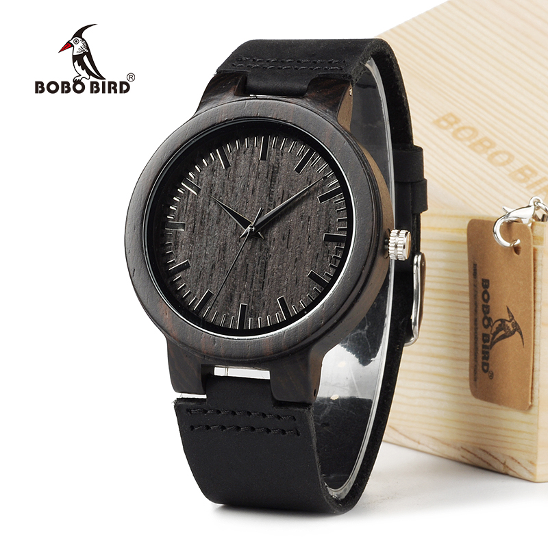 BOBO BIRD C26 Herenhorloges Retro Japan Quartz hout Horloge Echt leer Band Heren Bamboe horloges in geschenkverpakking