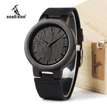 Bobo bird c26 hombres banda de cuero relojes retro japón movimiento de cuarzo reloj de madera real de bambú de los hombres relojes de pulsera de regalo caja