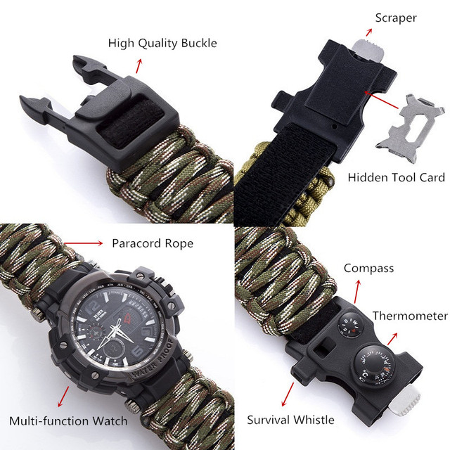 EDC Survival Watch Bracelet Waterproof 50M Watches For Men Women Camping Hiking Military Tactical Gear Outdoor Camping tools 4