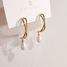 Gold Metal Irregular Curved Earrings Women 925 Silver Stitch Simple Temperament Cross Long Pendant Drops Pearl Pendant Earrings(China)