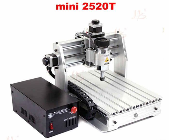 Desktop 3 axis mini cnc machine 2520T with 200W spindle for wood pcb leather carving mini 6090 desktop 3 axis cnc carving machine