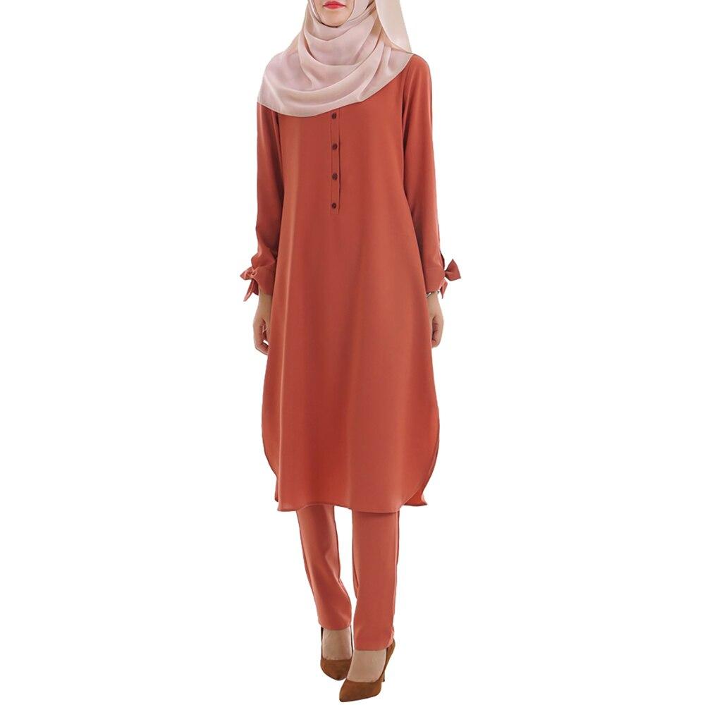 Babalet femmes musulman deux pièces ensemble islamique arabe conservateur dubaï lâche mince col rond à manches longues Ramadan nœud poignets costume