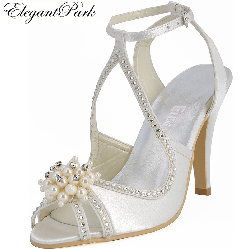 Summer Sandals Woman Wedding Bridal Shoes Ivory White Pearl Ankle Strap High Heel Rhinestone Satin Bridesmaid Prom Pumps EP11058