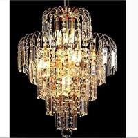 Modern k9 crystal chandelier golden stair led pendant lamp luster crystal stair hotel restaurant dining room lamp 85v 260v