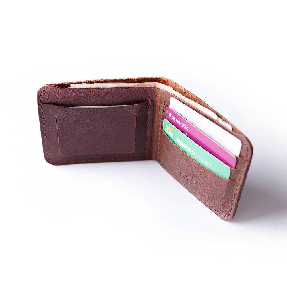 Äkta läder plånbok för män handgjorda vintage läder plånbok - Plånböcker - Foto 3