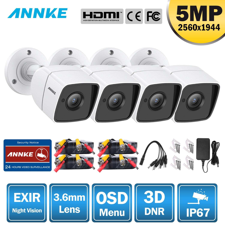 ANNKE 4X Ultra HD 5MP TVI CCTV Camera Outdoor Weatherproof White Security Surveillance System EXIR Night Vision Email Alert Kit