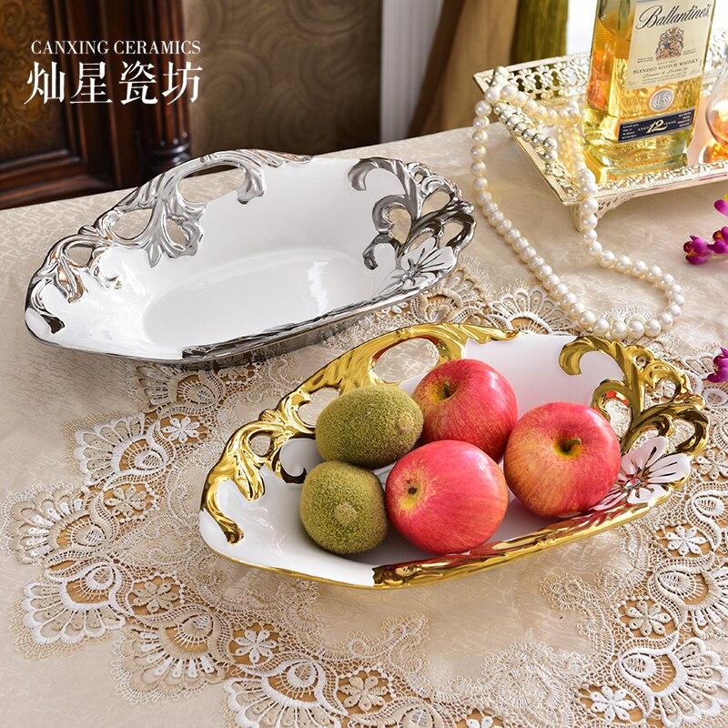 Europe plaqué or fruits plateau snack plateau alimentaire service céramique maison fruit bol décoratif dessert plateau organisateur plateau TC005