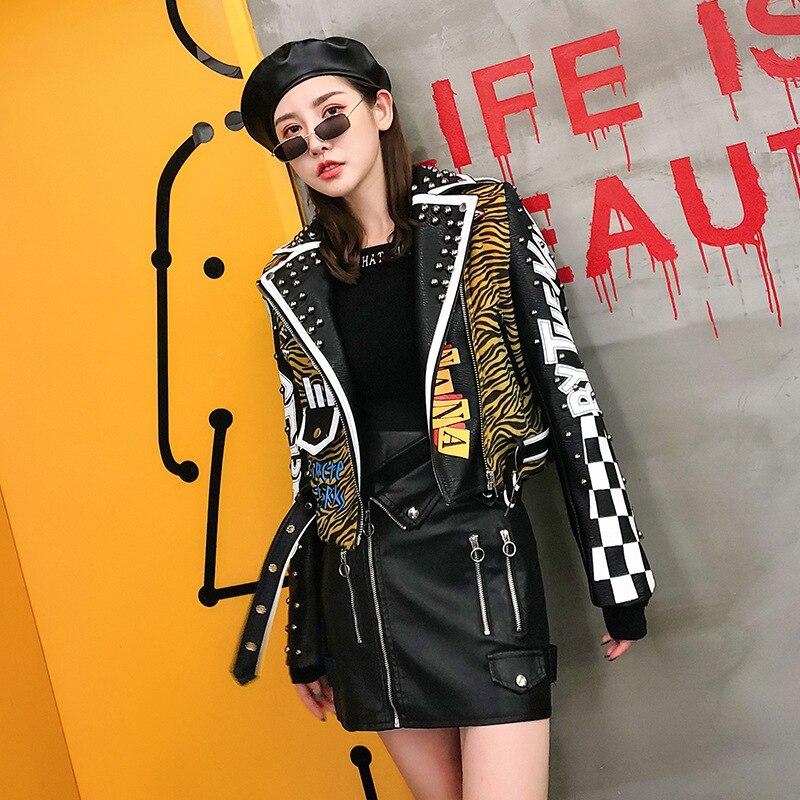 Zebra Vague Veste Punk Rivet Bande Veste 2018 Femmes en cuir PU Moto Manteau Mince Patch Beau Vestes Courtes Conception LT778S50