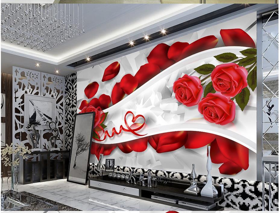 Romantic rose petals 3D living room window mural wallpaper Home Decoration custom photo wallpaper
