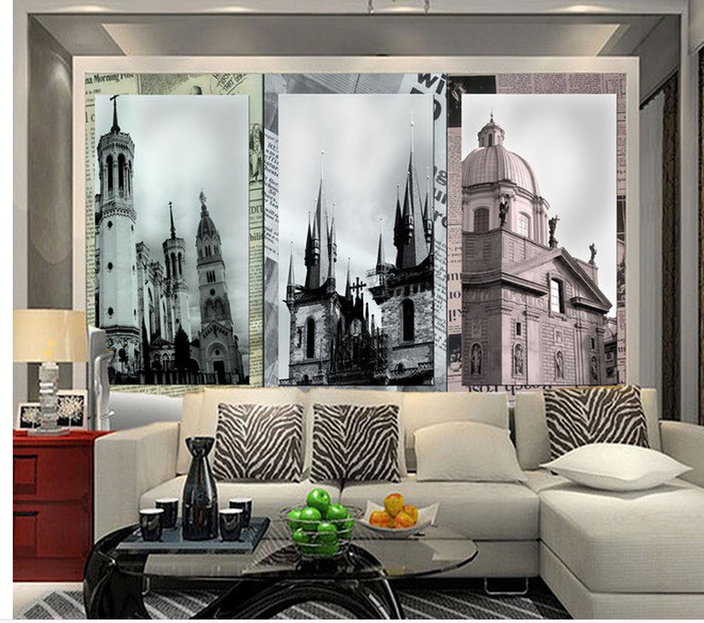 Benutzerdefinierte 3d tapete nostalgischen retro design europäischen architektonischen kulisse dekorative malerei foto 3d wallpaperchina