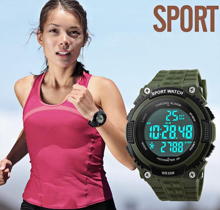 Digital Wristwatches Pedometer Chronograph SKMEI Water-Resistant Men Led Outdoor 50M