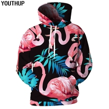 YOUTHUP 2018 New Design Harajuku 3d Hoodies Men/Women Hooded Fashion Sweatshirts Flamingo Print Pullover Plus Size