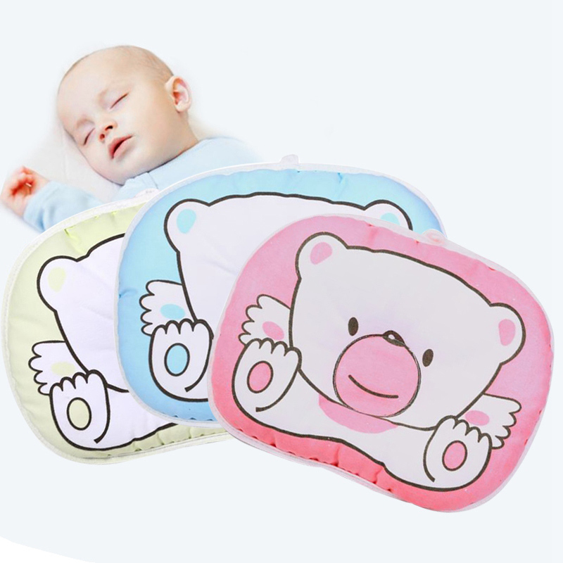 Baby Pillow Bear Kids Sleep Cushion Cartoon Head Sleep Positioner Prevent Flat Head Protection Pad Boys Girls Decorate Gift