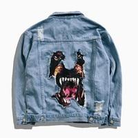 ABOORUN Men's Hip Hop Denim Jacket Funny Dog Printed Broken Hole Jean Jacket Spring Autumn Streetwear Coat for Couples YC1175