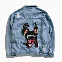 ABOORUN homme Hip Hop Denim veste drôle chien imprimé trou cassé Jean veste printemps automne Streetwear manteau pour Couples YC1175