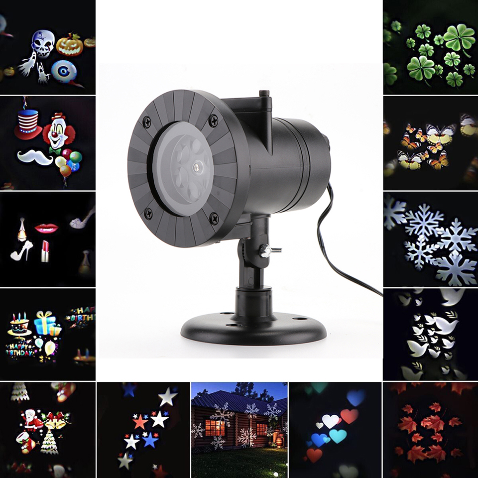 Snowflake star projector atmosphere holiday lighting outside garden christmas lamp disco bulb laser waterproof 12 pattern