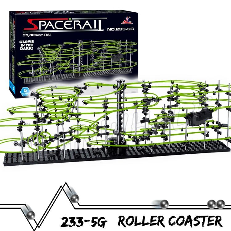 3000cm Rail Level 5 Marble Run Night Luminous Glow In The Dark Roller Coaster Model Building Kit Toy Maze Rolling ball Sculpture