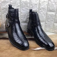 Дизайн; натуральная крокодиловая кожа; Мужская обувь из кожи живота; зимняя Прочная высокая глянцевая мужская обувь на молнии из крокодиловой кожи
