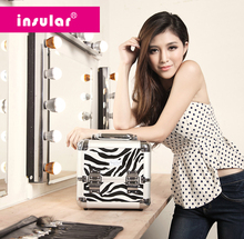 Free Shipping Hot Sales Cosmetic Case Professional Aluminum Makeup Case Makeup Bag With Padlock