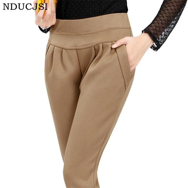 171c27e5b Calca Feminina Inverno Mulheres Magras Calças de Lã de Veludo Outono Plus  Size Estiramento Broeken Mulher