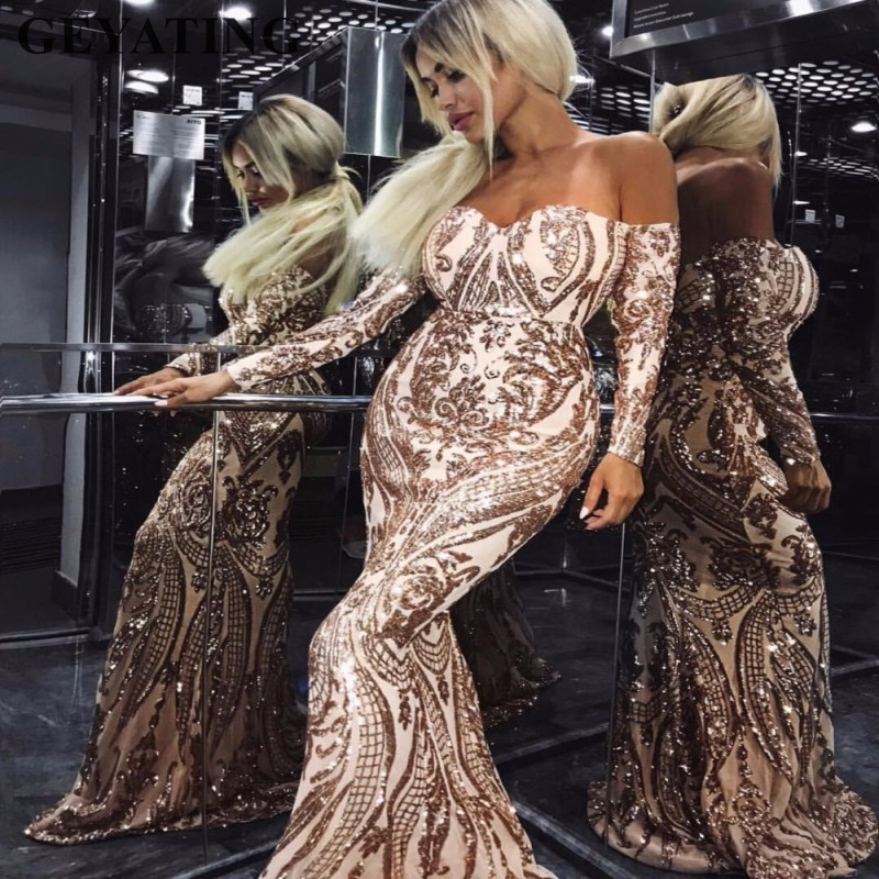 Sexy Gold Sequined Long Sleeves Evening Dress Mermaid Strapless Green Elegant Women Maxi Formal Party Gowns Arabic Prom Dresses