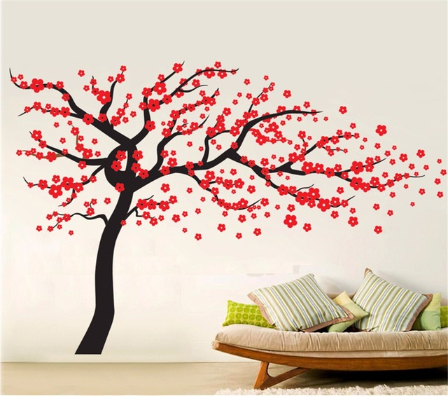 Yanqiao Plum Blossom Large Tree Wall Decal L And Stick Home Bedroom Stencil Decoration Diy Mural