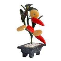 Asian Vintage Hand Jade Red Hot Chili Peppers Stand For Business Booming Lucky G1201
