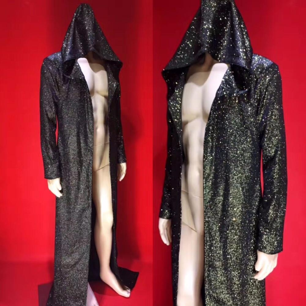 Black Gold Bright Bronzing Drill Powder Men's Long Design Jacket Male Singer Dj Ds Bar Nightclub Stage Show Cloak Costume Outfit