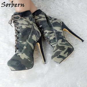 Image 3 - Fashion Denim Women Boots Plus Botas Mujer High Thin Heels Ankle Boots For Women Botte Femme Platform Women Shoes Ankle Boots